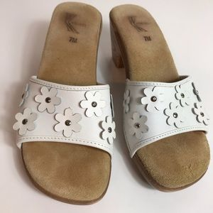 White mountain leather slip on sandals worn once!